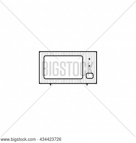 Microwave Vector Thin Line Icon. Microwave Hand Drawn Thin Line Icon.