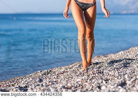Beautiful Young Girl Walking Along The Sea During Summer Vacation Meditation Seaside Sea Ocean Holid