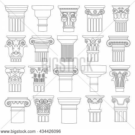 Top Of Column Isolated Outline Set Icon. Vector Outline Set Icon Antique Pillar. Vector Illustration