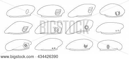 Military Beret Isolated Outline Set Icon. Vector Illustration Army Cap On White Background.outline S