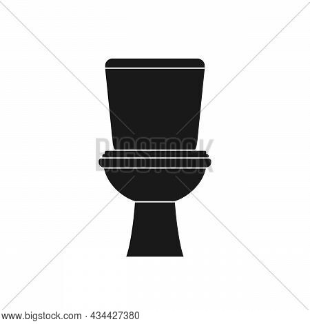 Classic Black Toilet Bowl With Water Tank Icon In Flat Style Isolated On White Background. Equipment