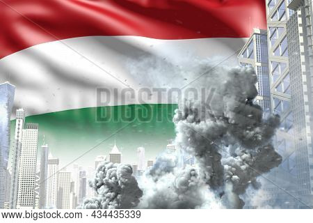 Huge Smoke Column In The Modern City - Concept Of Industrial Accident Or Terroristic Act On Hungary