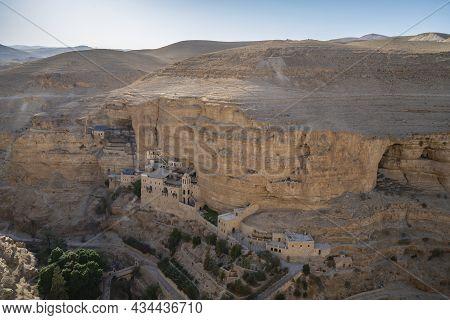 Wadi Qelt, Israel - September 26th, 221: The Saint George Monastery, Built On The Walls Of Prat Broo