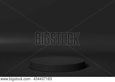 Simple Black Presentation Podium. 3d Render Illustration.