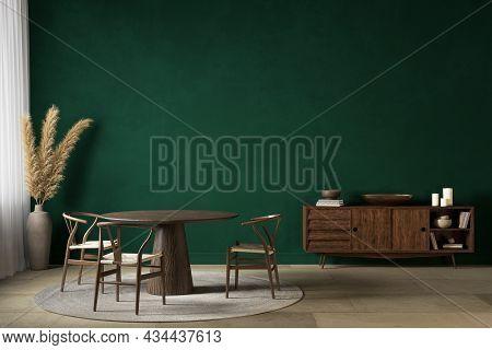 Dark Green Interior With Dining Table Dreser And Decor. 3d Render Illustration Mockup.