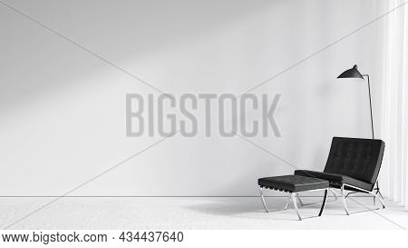 Contemporary Minimal White Interior With Lounge Chair And Floor Lamp. 3d Render Illustration Mockup.