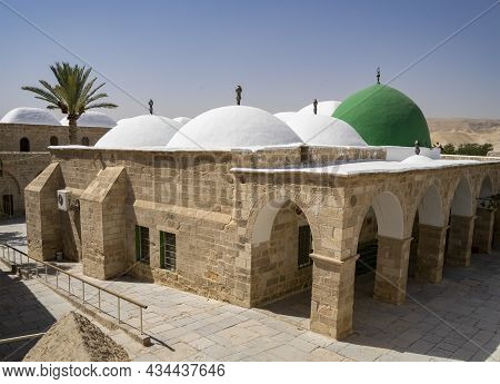 Nabi Musa, Israel - September 26th, 2021: The Exterior Of The Prophet Moses Mausoleum In The Judea D