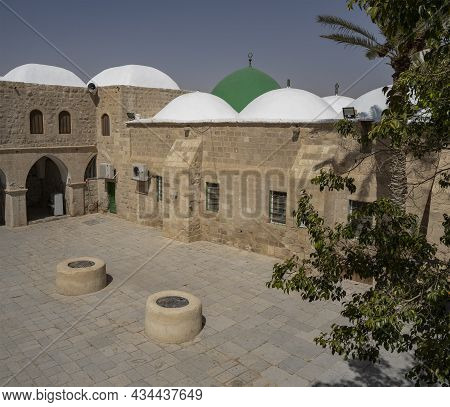 Nabi Musa, Israel - September 26th, 2021: The Inner Yard Of The Prophet Moses Mausoleum In The Judea
