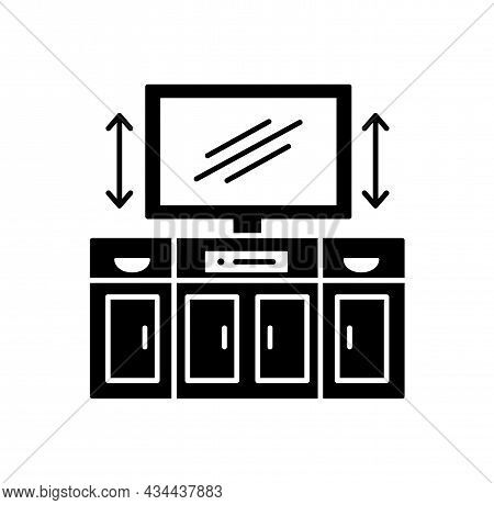 Tv Stand With Automatic Lift. Black And White Vector Illustration. Modern Media Console. Flat Icon O