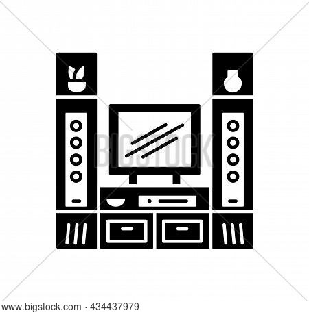 Tv Stand With Audio Towers. Entertainment Center. Vector Illustration. Modern Media Console. Flat Ic