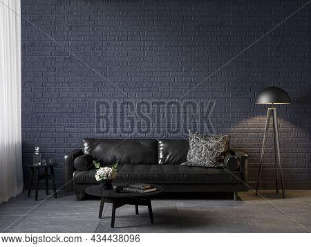 Dark Blue Interior With Black Leather Sofa, Coffe Table, Decor And Brick Wall. 3d Render Illustratio