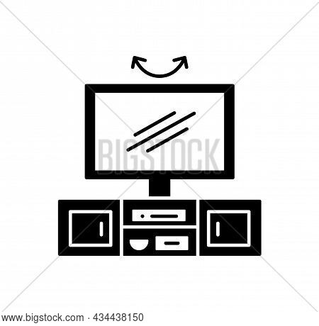 Swivel Tv Stand. Vector Illustration Of Modern Media Console. Flat Icon Of Led Screen Television Tab