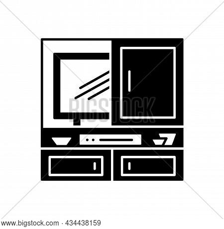 Hidden Tv Cabinet. Black And White Vector Illustration. Modern Media Console. Flat Icon Of Led Telev