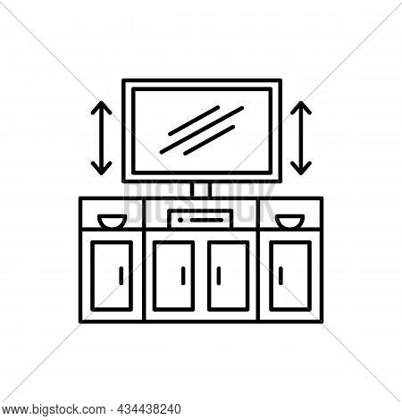 Tv Stand With Automatic Lift. Black And White Vector Illustration. Modern Media Console. Line Icon O
