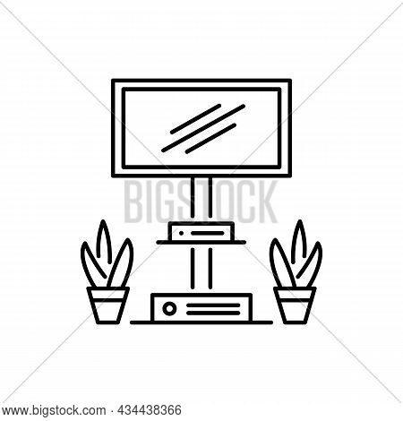 Floor Stand Mount For Tv Display Or Flat Screen. Black And White Vector Illustration. Modern Media C