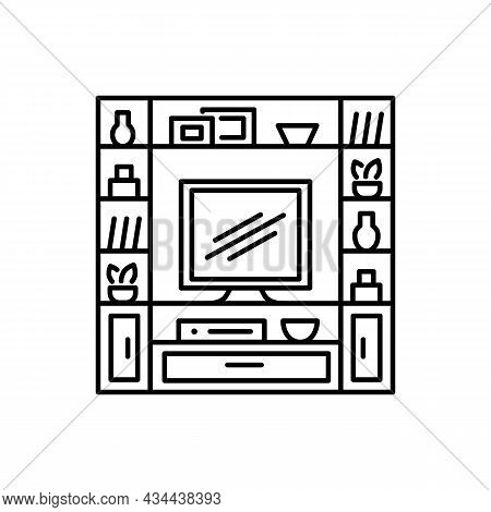Entertainment Center. Tv Stand With Shelves. Vector Illustration Of Modern Media Console. Line Icon