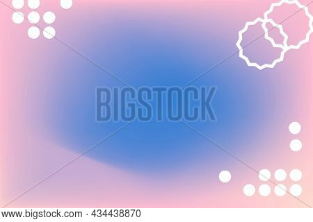 Blue gradient background in abstract memphis style with funky border