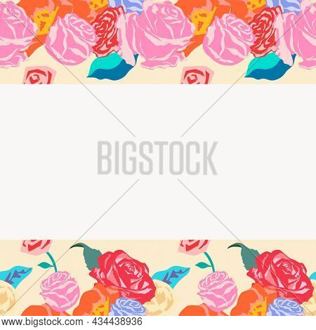 Feminine floral beige frame with colorful roses on white background
