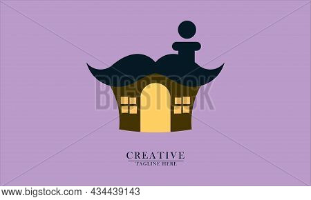 Cute House With Thick Mustache Roof, Good For Icons And Logos For Children's Toys, T-shirts, Room Wa