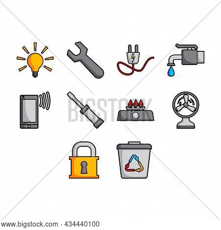 Collection Of Cartoon Utility Stuff Icon Vector