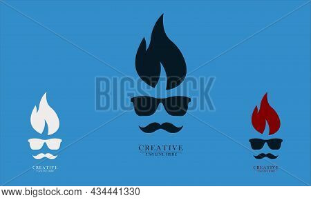 Mustache Glasses And Fire Hair, Great For Restaurant Chef Logo Icons, Food And Beverage Cafes, Fast