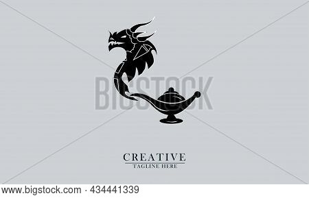 Mythical Dragon And Genie Bottle, Great For Mystical, Magic, Magic Icon Logos. Vector Concept Flat A