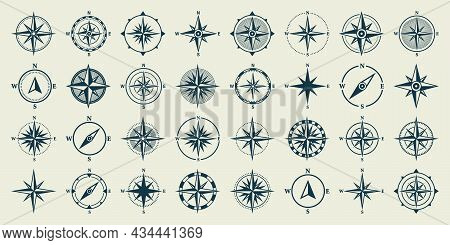 Vintage Marine Wind Rose, Nautical Chart. Monochrome Navigational Compass With Cardinal Directions O