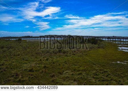 The Life Of The Marsh Trail, An Elevated Wooden Boardwalk Looping Around A Bayside Marsh Habitat In