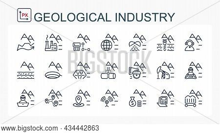 A Set Of Vector Linear Icons . Geological Industry, Mining Industry. Isolated.