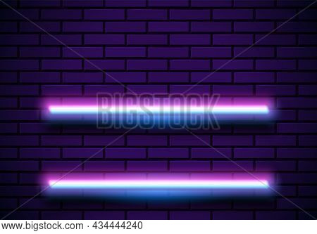 Neon Frame With Shelves On The Blue Brick Wall. Classic Round 80s Styled Purple Shiny Glowing Neon S