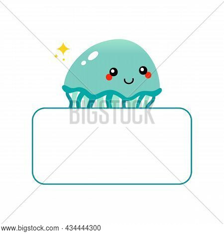 Cute And Happy Cartoon Style Jellyfish Character With In Hands Blank Card, Banner.