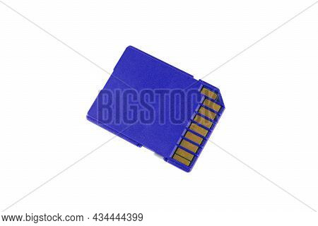 Blue Sd Card With Contacts Isolated On White Background