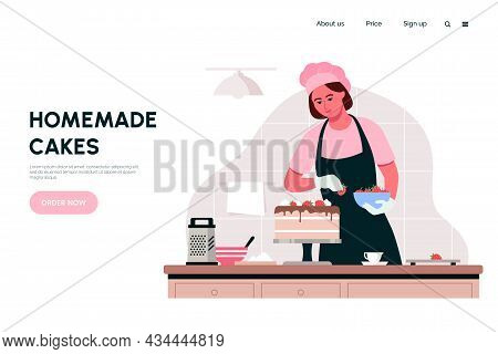 Woman Preparing Cake In Home Kitchen. Housewife Makes Sweet Pastries To Order. Home Bakery Web Page