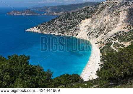 Amazing View Of Myrtos Beach, Kefalonia, Ionian Islands, Greece