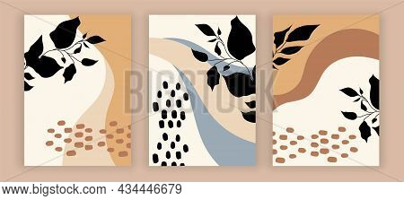 Set Of Modern Floral Abstract Background In Minimalistic Background On Pastel Background. Calm, Past