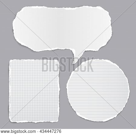 Set Of Torn White Note, Notebook Paper Stripes And Speech Bubble Stuck On Dark Grey Background For T