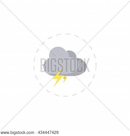 Lightning In The Cloud Vector Clipart. Lightning In The Cloud Isolated Flat Icon.