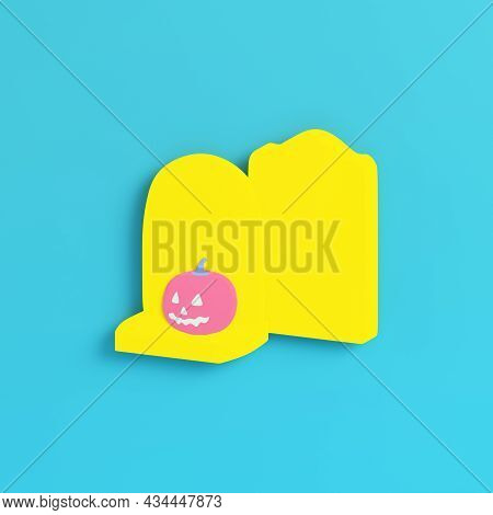 Yellow Halloween Pumpkin With Gravestone On Bright Blue Background In Pastel Colors. Minimalism Conc