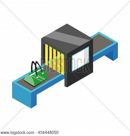 Baggage Controlling At The Airport Vector Clipart. Baggage Controlling At The Airport Isolated Flat