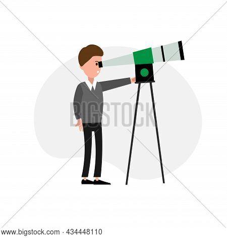 Man Looking Through Telescope Vector Clipart. Looking Through Telescope Isolated Flat Icon.