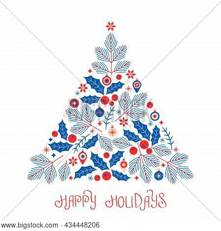 Greeting Christmas Card With A Stylized Christmas Tree, Balls And Snowflakes. Greeting Text On Blue