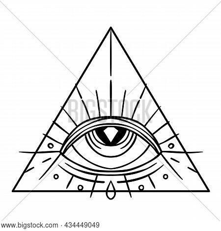 Eye Of Providence. Masonic Symbol. All Seeing Eye Inside Triangle Pyramid. New World Order. Hand-dra