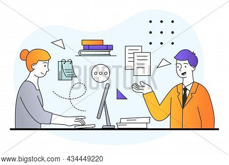 Male Character Is Teaching A New Employee In The Office On White Background. Concept Of Mentoring, C