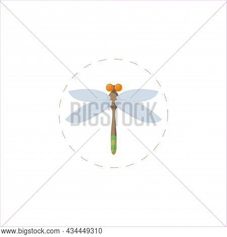 Dragonfly Vector Clipart. Dragonfly Isolated Flat Icon.