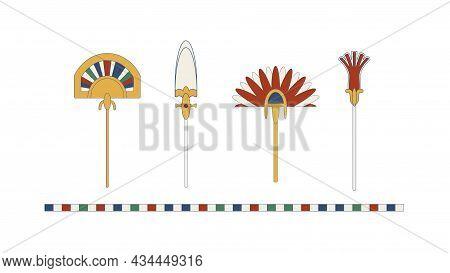 Egypt Color Fan Set. Egypt Ornamental Fan Composition, Ornamental Element Of Ancient Egypt.