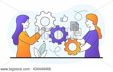 Two Female Characters Are Linking Gear Mechanism Together On White Background. Concept Of Business M