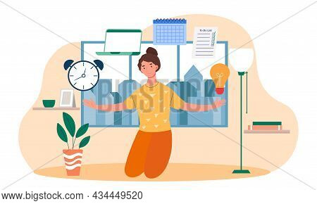 Skillful Female Character Juggling Work Elements, Laptop, Calendar, Ideas, Emails On White Backgroun