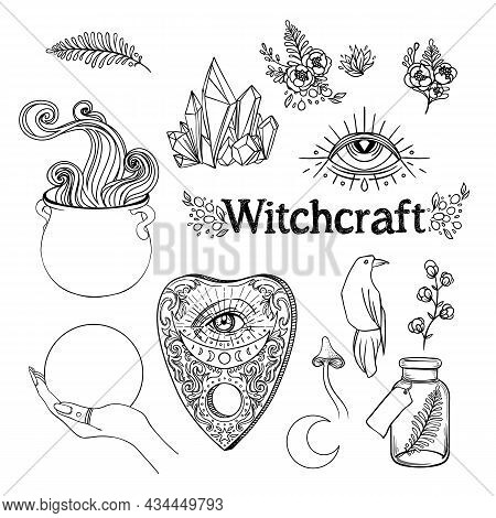 Witchcraft Set. Ouija Planchette , Cauldron, Crystal Ball, Poison Bottle, Herbs And Flowers. Vector