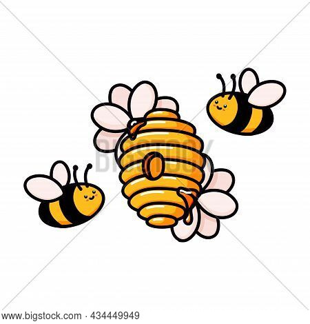 Hive With Cute Bees And Flowers. Yellow Beehive Doodle Vector Illustration. Home Of The Wasp, Bee An
