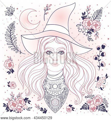 Wiccan Witch. Vector Illustration In Black And White. Young Woman With Long Blond Hair And Magic Hat
